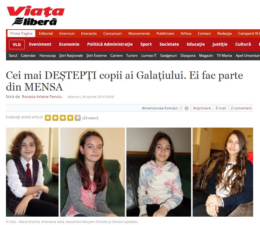 Articol in Viata Libera Galati - 2016